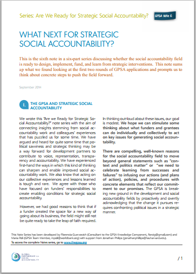 What Next for Strategic Social Accountability?
