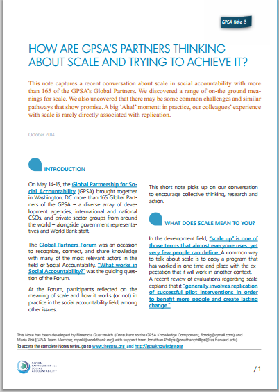 How Are GPSA's Partners Thinking about Scale and Trying to Achieve it?