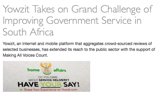 Yowzit Takes on Grand Challenge of Improving Government Service in South Africa