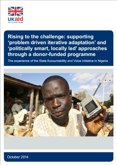 Rising to the challenge: supporting 'problem driven iterative adaptation' and 'politically smart, locally led' approaches through a donor-funded programme