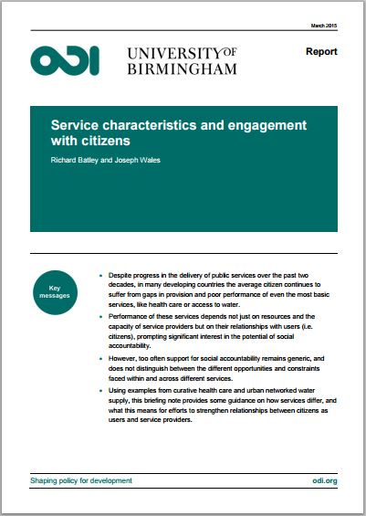 Service characteristics and engagement with citizens