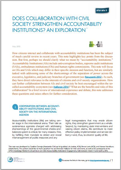 Does collaboration with civil society strengthen accountability institutions? An exploration