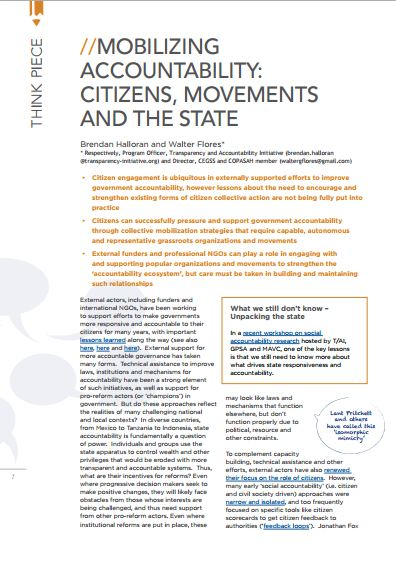 Mobilizing Accountability: Citizens, Movements and the State