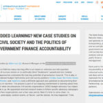 Embedded Learning? New case studies on civil society and the politics on government finance accountability