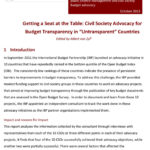 """Getting a Seat at the Table: Civil Society Advocacy for Budget Transparency in """"Untransparent"""" Countries"""